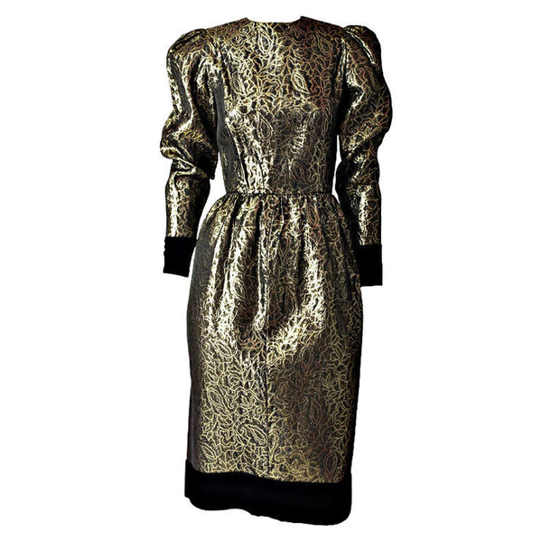 Givenchy Gold Lamé and Velvet Cocktail Dress