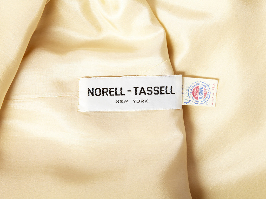 Norell Tassel Ivory Satin Gown