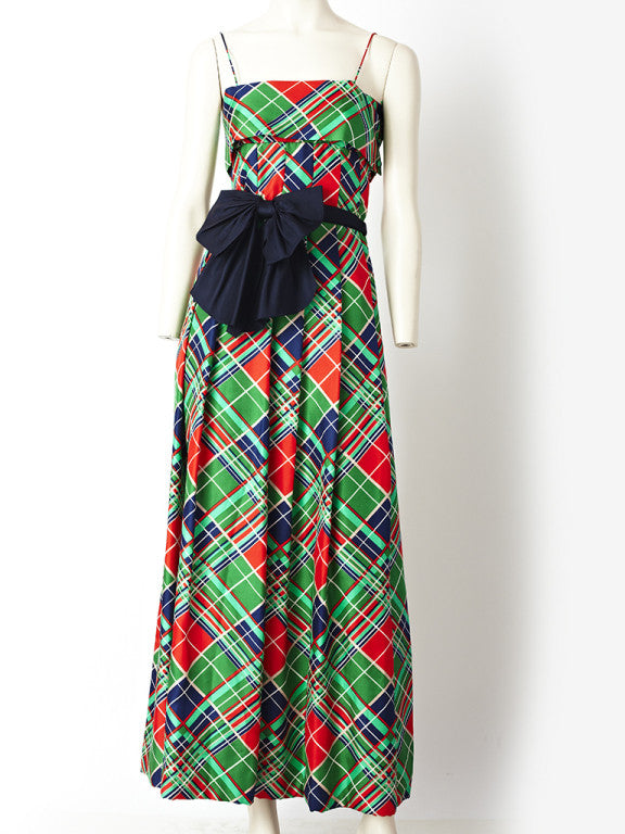 Pauline Trigere Plaid Gown