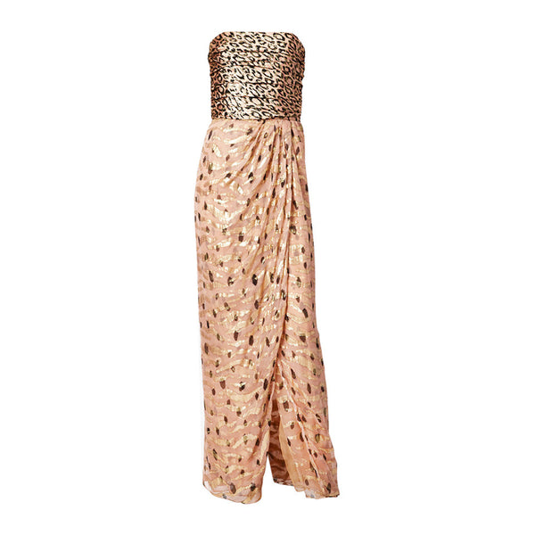 Bill Blass Strapless Leopard Print Lame and Chiffon Gown