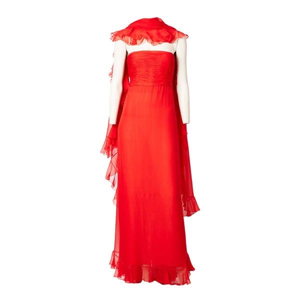 Oscar de la Renta Chiffon Gown with Ruffled Shawl