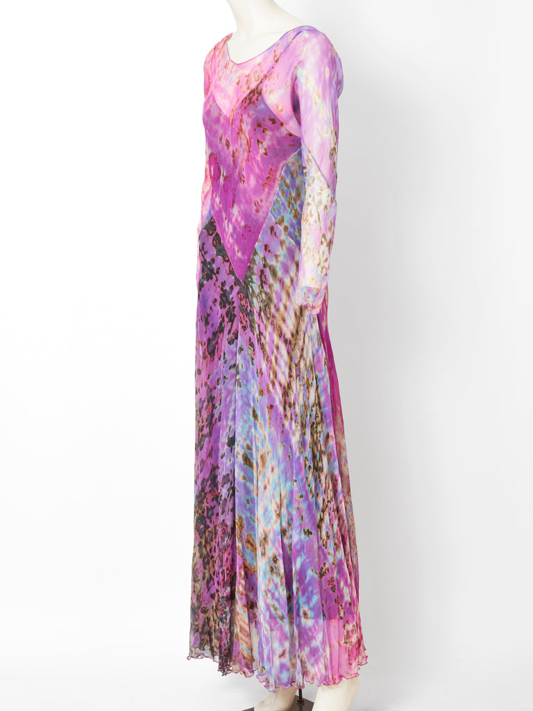 Chiffon Tie Dye Bias Cut Maxi Dress C. 1970's