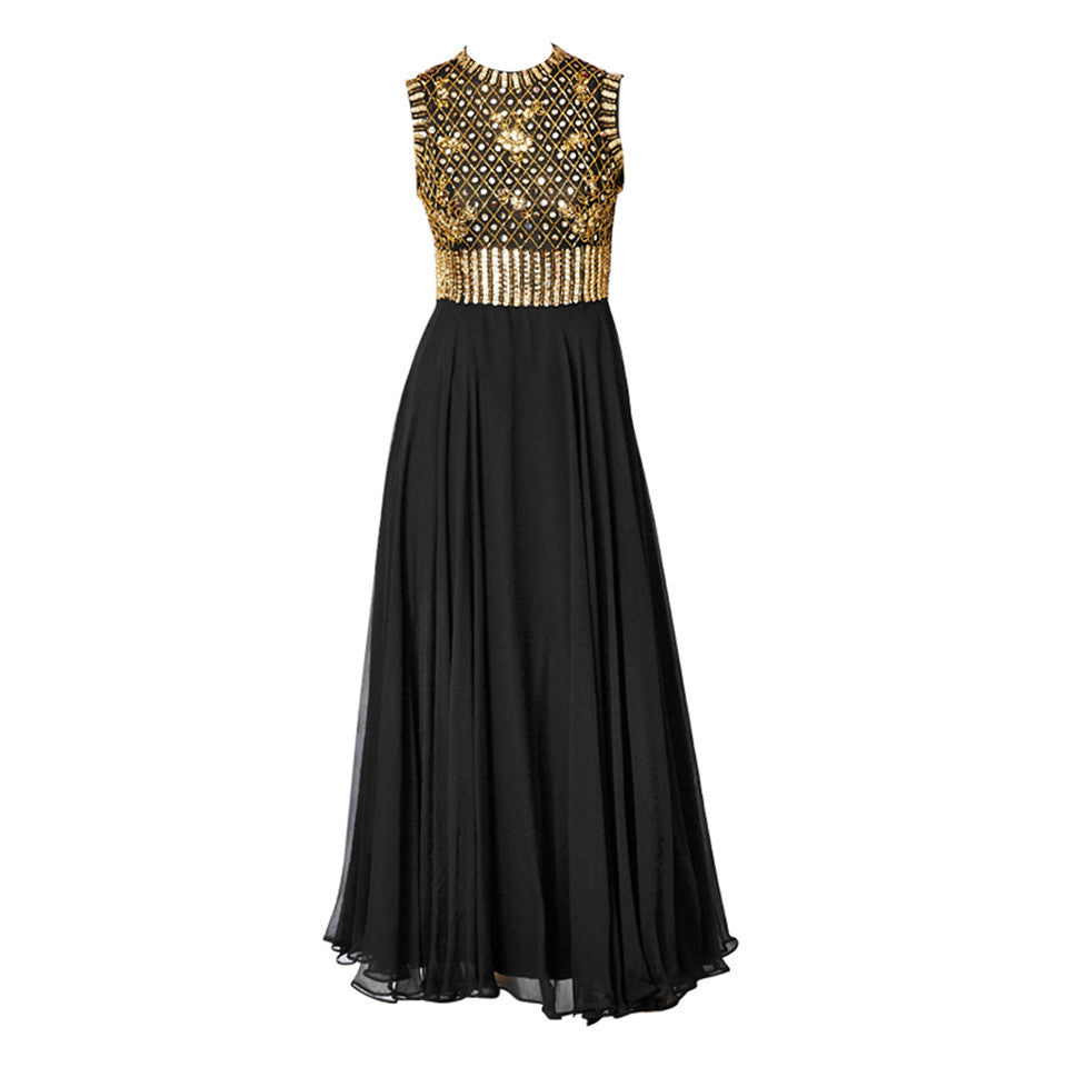 Elizabeth Arden Beaded and Chiffon Evening Dress