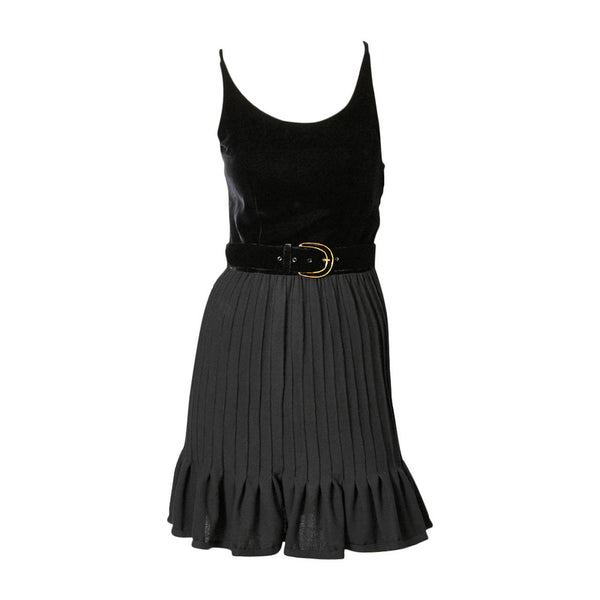 Valentino Velvet and Wool Crepe Belted Cocktail Dress
