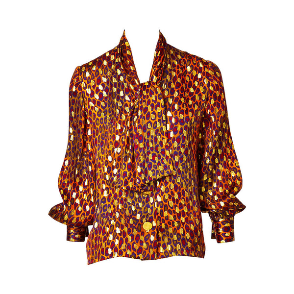 Givenchy Leopard Print and Gold Lame Blouse