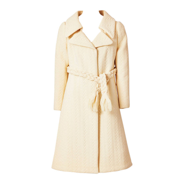 Galanos Wool Matelasse Coat With Braided Belt