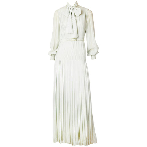 Andre Laug Pale Grey Pleated Chiffon Gown