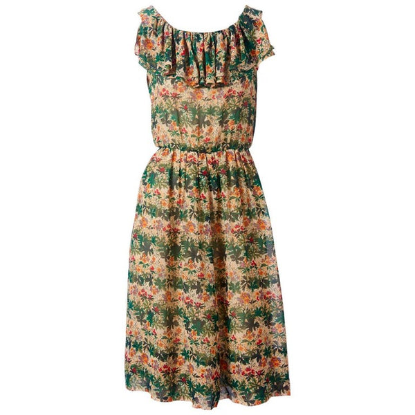 Valentino 70's Printed Chiffon Day Dress