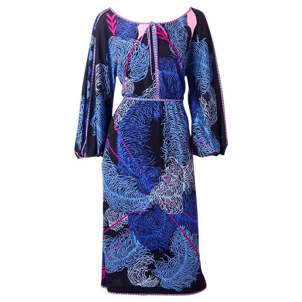 "Pucci Silk Jersey ""Plume"" Pattern Dress"