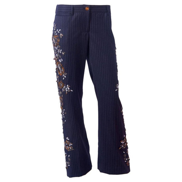 Dolce & Gabbana Wool Chalk Stripe  Trouser with Sequins and Beads Floral Detail