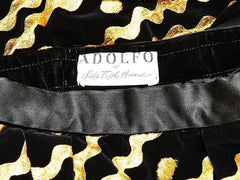 Adolfo Velvet Evening Skirt With Gold Ric Rac Detail