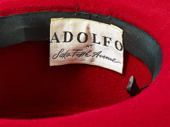 Adolfo Felt Hat With Gross Grain Detail