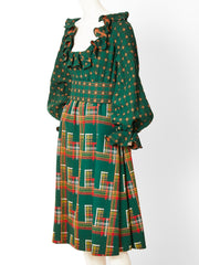 Ronald Amey Mixed Patterns Wool Dress and Gilet
