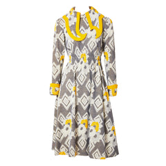 Ronald Amey Mustard and Grey Patterend Wool Knit Day Dress