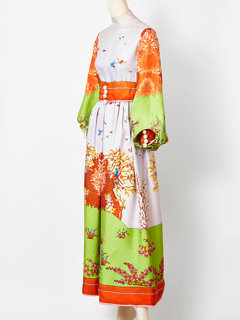 Ronald Amey Silk Fantasy Pattern Maxi Dress