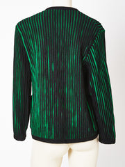 France Andrevie Green and Black Knit Cardigan