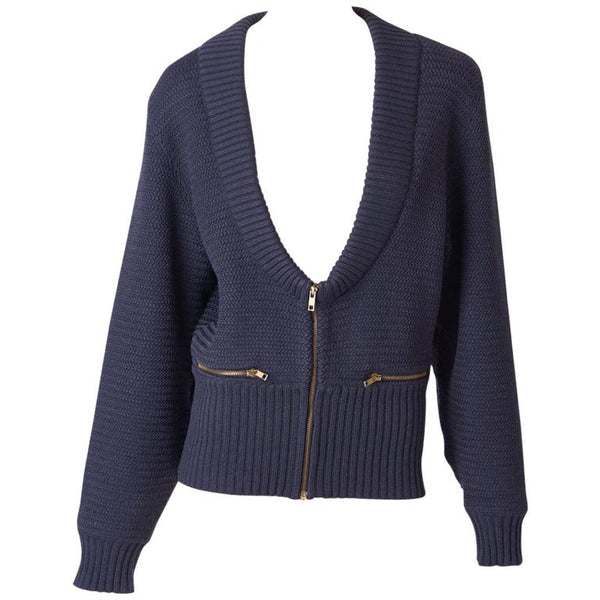 Azzedine Alaia Knit Blouson with Zipper Detail