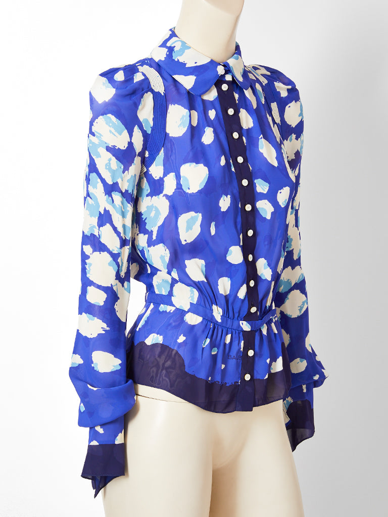 Balenciaga Abstract Floral Pattern Blouse