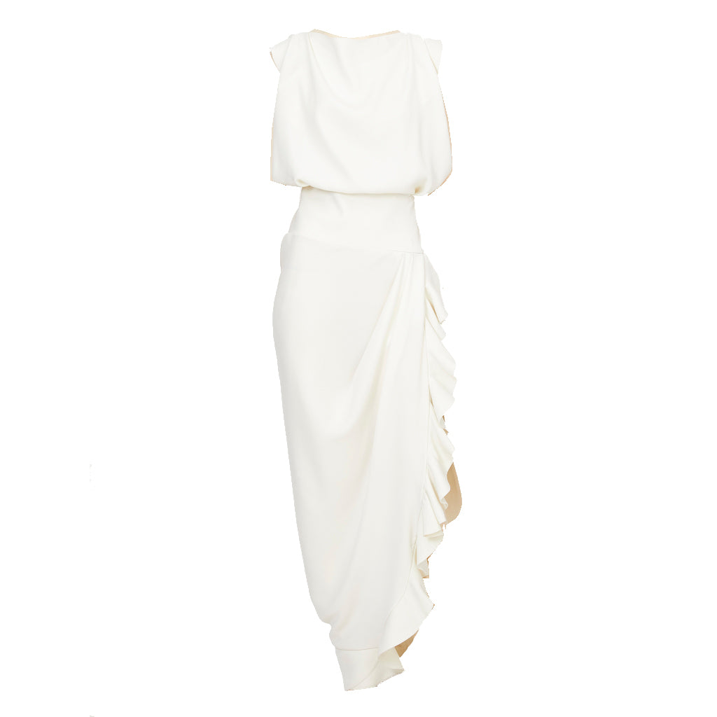 Nicolas Ghesquiere For Balenciaga White Crepe Gown With Ruffles