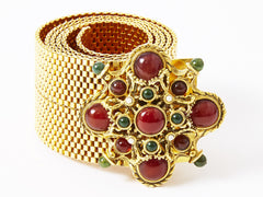 Barrera Gold Mesh Belt with Jeweled Buckle