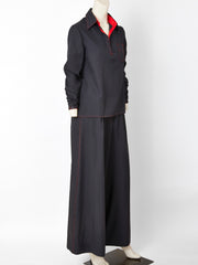 Beene Bag Black Pant Ensemble with Red Detail