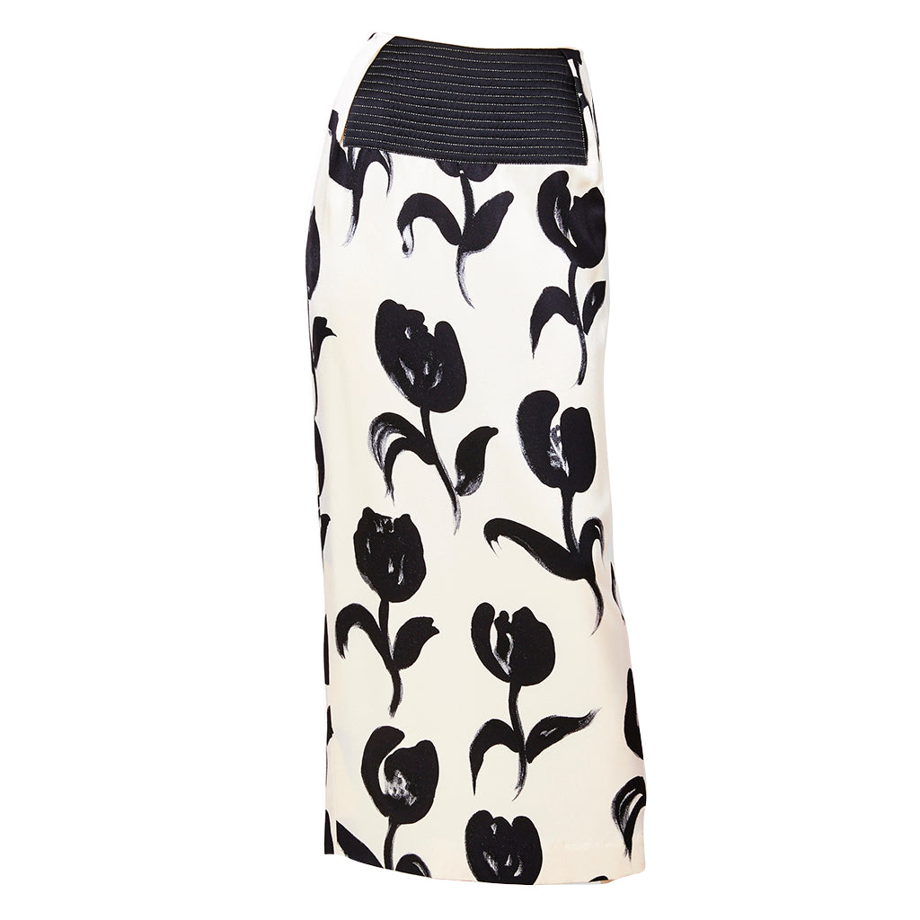 Geoffrey Beene Tulip Print Silk Charmeuse Evening Skirt