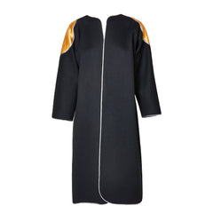 Geoffrey Beene Wool Coat with Quilted Futuristic Satin Appliqué Details