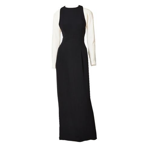 Geoffrey Beene Black and White Crepe Evening Dress