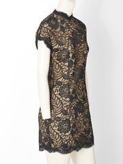 Geoffrey Beene Lace Over Nude Silk Cocktail Dress