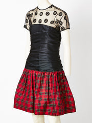 Geoffrey Beene Tulle and Taffeta Tartan Cocktail Ensemble