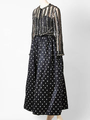 Geoffrey Beene Black and White Gown With Beaded Jacket