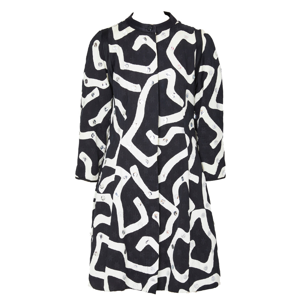 Geoffrey Beene Graphic Pattern Coat With Paiettes