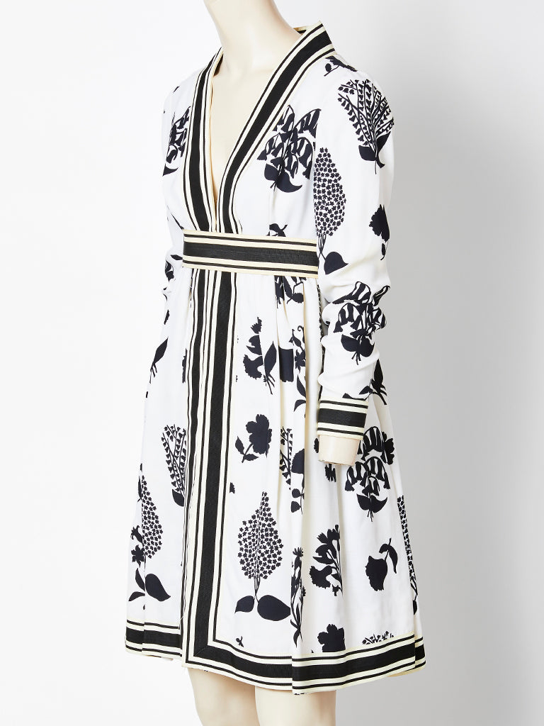 Geoffrey Beene Black and White Floral Pattern Dress 1969