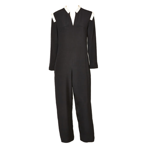 Geoffrey Beene Navy Crepe Jumpsuit With White Detail