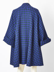 Geoffrey Beene Plaid Swing Coat