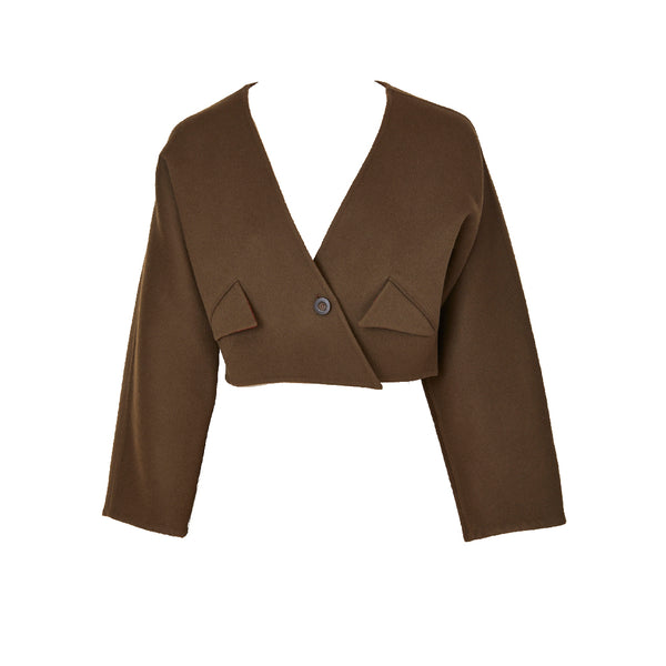 Geoffrey Beene Chocolate Brown Double Face Wool Cropped Jacket