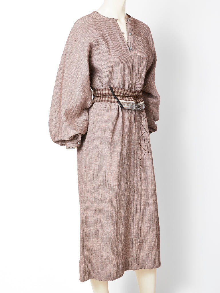 Geoffrey Beene Crinkle Wool Belted Shift