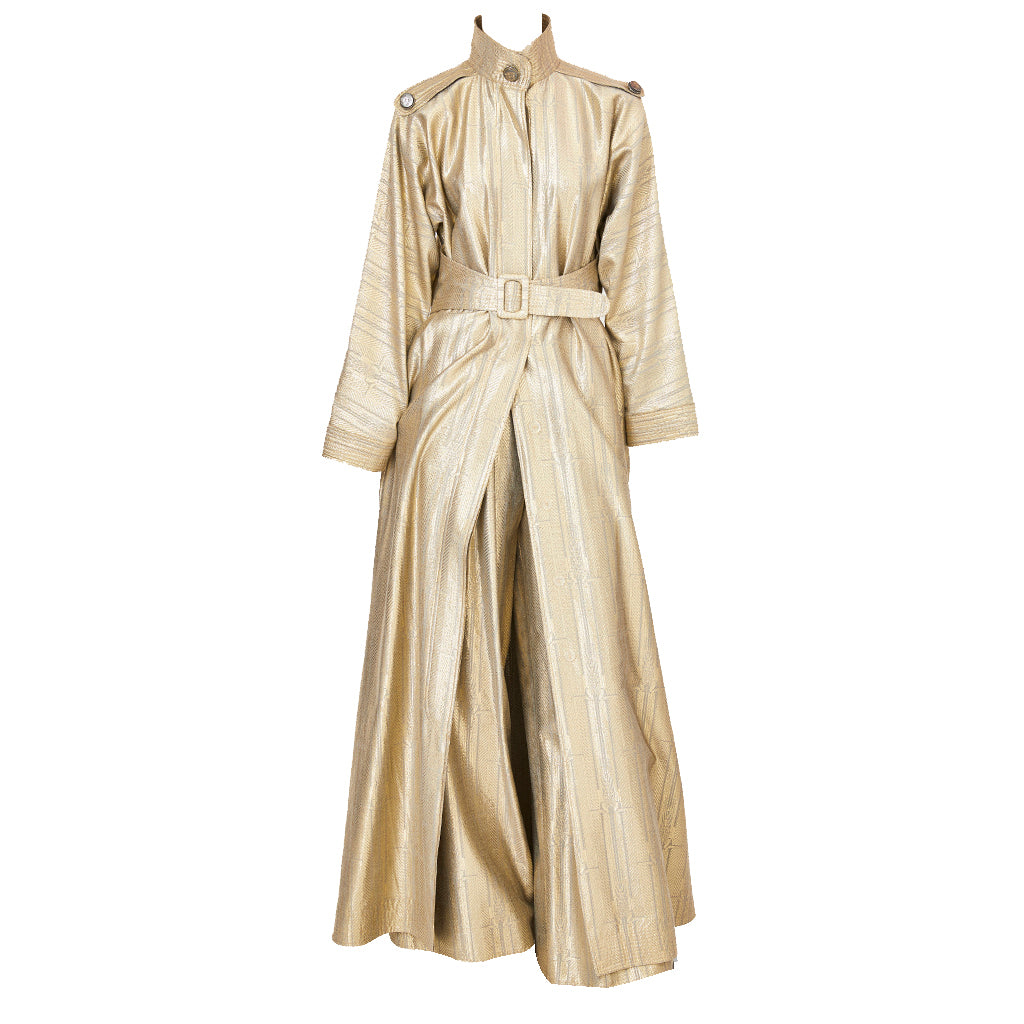 Geoffrey Beene Gold Lame Evening Trench and Pant Ensemble