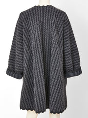 Geoffrey Beene Wool  Knit Swing Coat with Ric Rac Detail