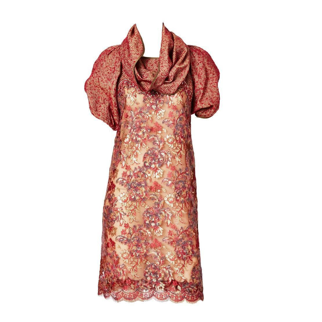 Geoffrey Beene Textured Silk and Lace Dress