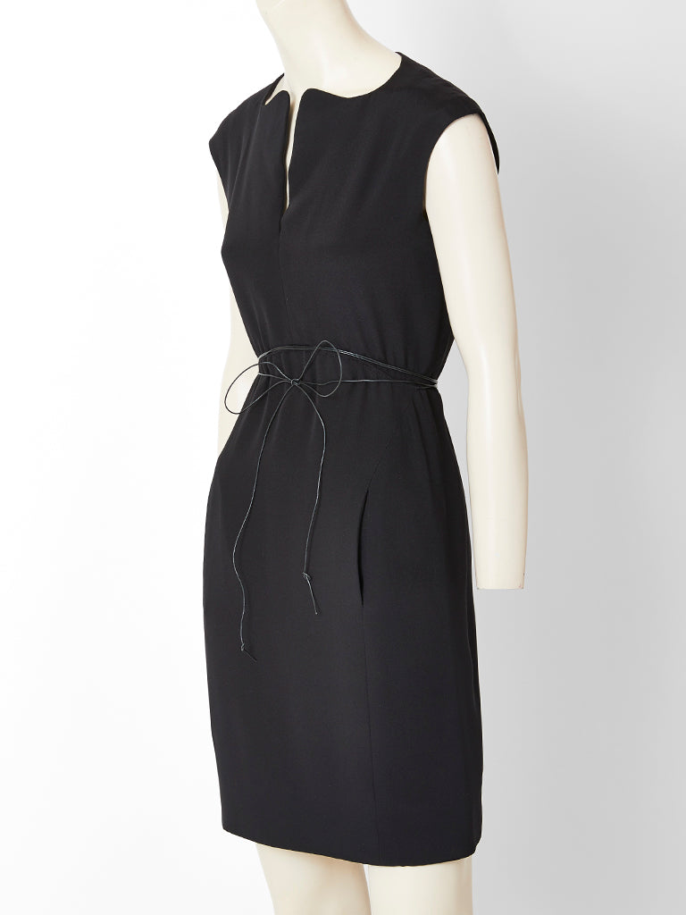 Geoffrey Beene Crepe Dress with Patent String Belt