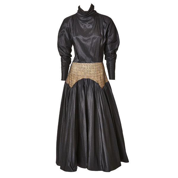 Geoffrey Beene Taffeta and Point D'Esprit Dress