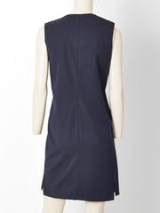 Geoffrey Beene Minimalist Navy Wool Day Dress