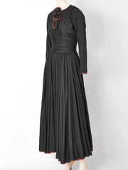 Geoffrey Beene Wool Jersey Maxi Dress with Plaid Trim