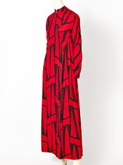 Geoffrey Beene Red and Black Graphic Print Maxi Dress