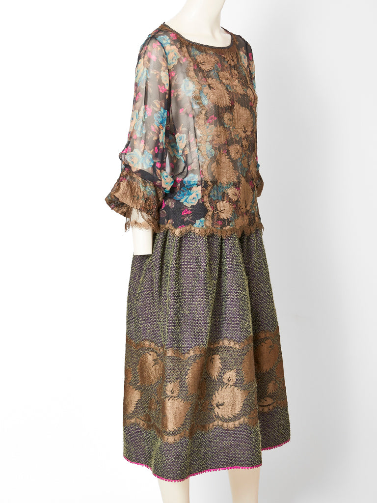 Geoffrey Beene Skirt Ensemble with Lace Appliqué Detail