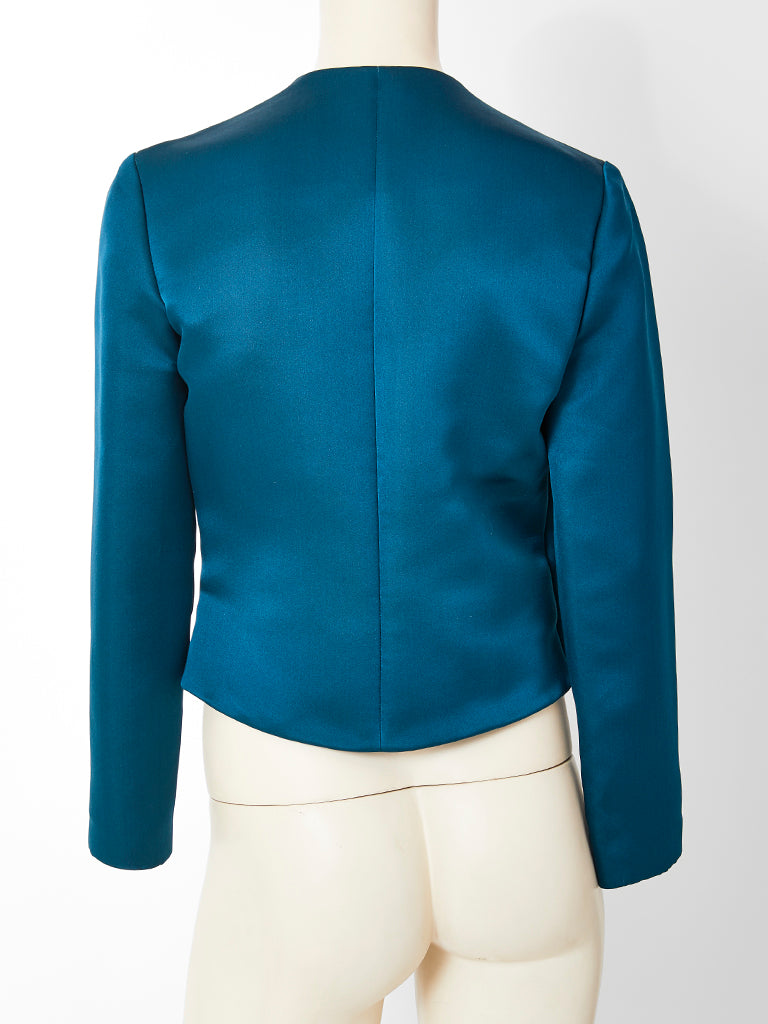 Geoffrey Beene Duchess Satin Evening Jacket with Achitectural Detail