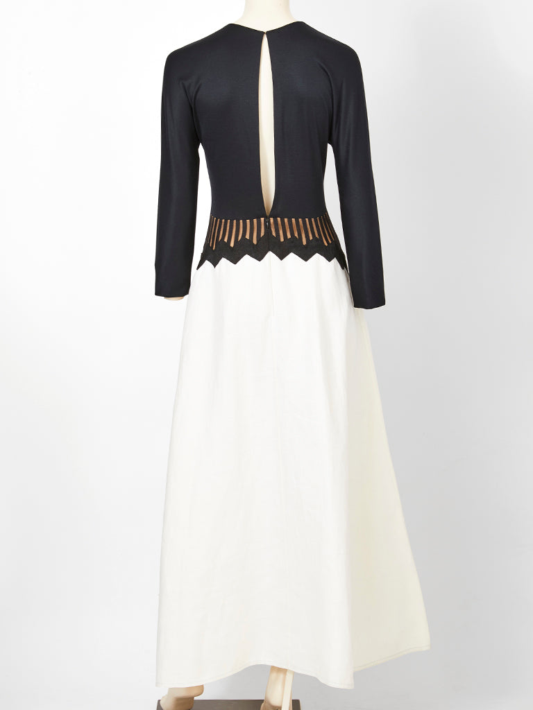 Geoffrey Beene Black and White Gown with Graphic Detail