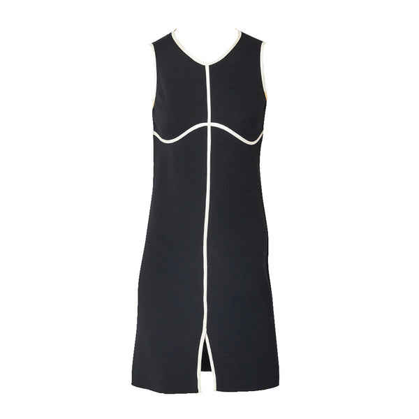 Geoffrey Beene Black and White Wool Jersey Dress