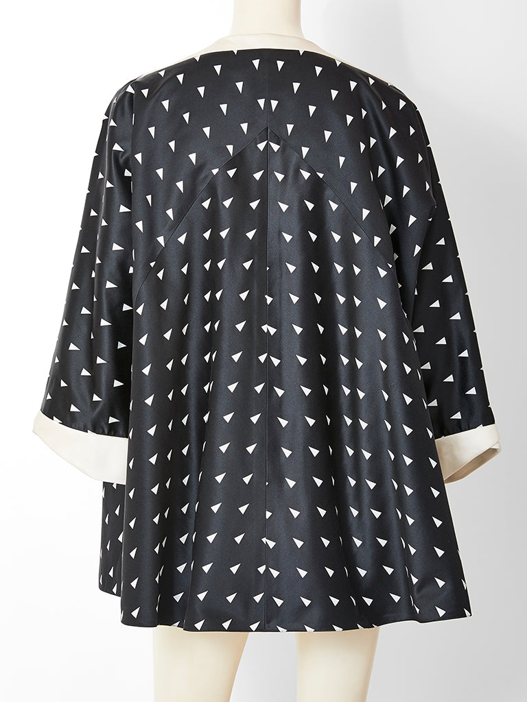 Geoffrey Beene Geometric Pattern Satin Evening Coat